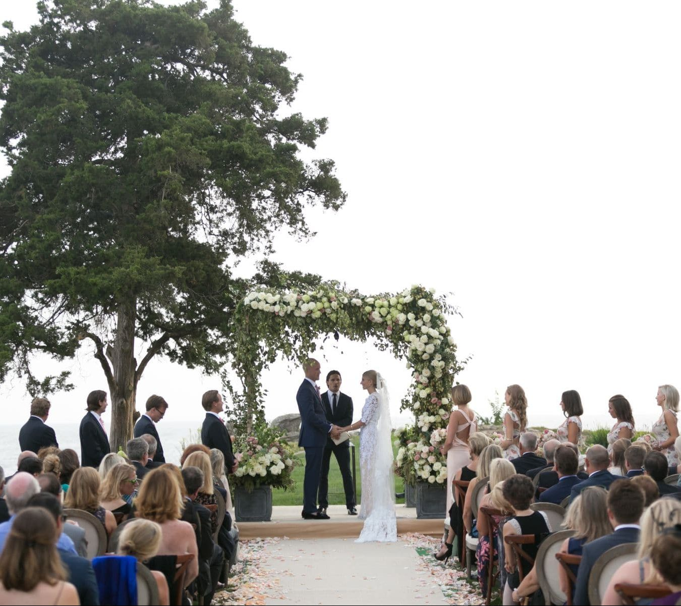 Bride and groom during outdoor ceremony.
