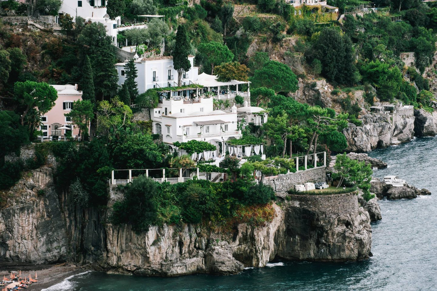 Aerial view of Villa Tre Ville at this Positano wedding weekend in Italy | Photo by Gianni di Natale