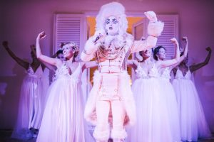 Truffle King Opera Singer performing at the Midsummer Night's Eve-themed white welcome party at this Positano wedding weekend in Villa Tre Ville   Photo by Gianni di Natale