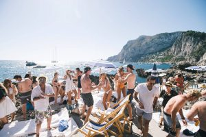Guests outside at La Fontelina in Capri at this Positano wedding weekend in Villa Tre Ville   Photo by Gianni di Natale
