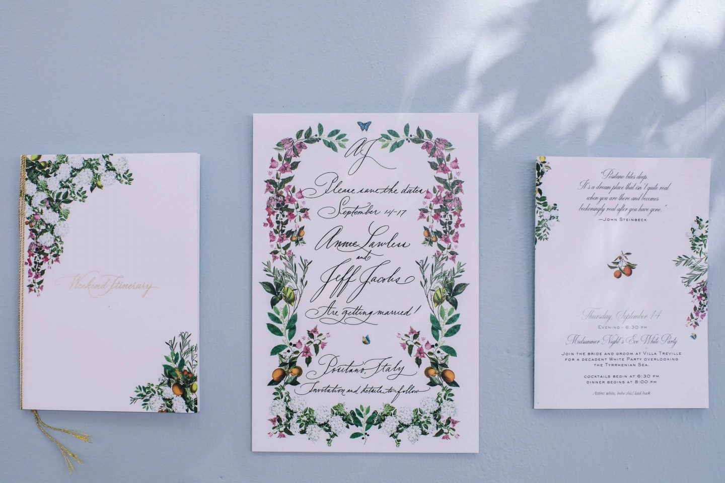 Wedding stationery at this Positano wedding weekend in Villa Tre Ville | Photo by Gianni di Natale