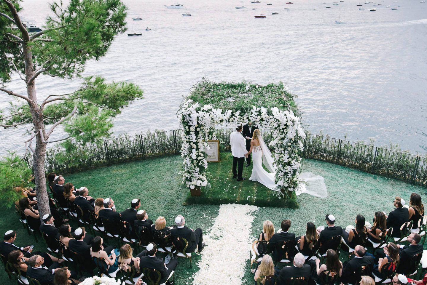 Outdoor ceremony at this Positano wedding weekend in Villa Tre Ville | Photo by Gianni di Natale