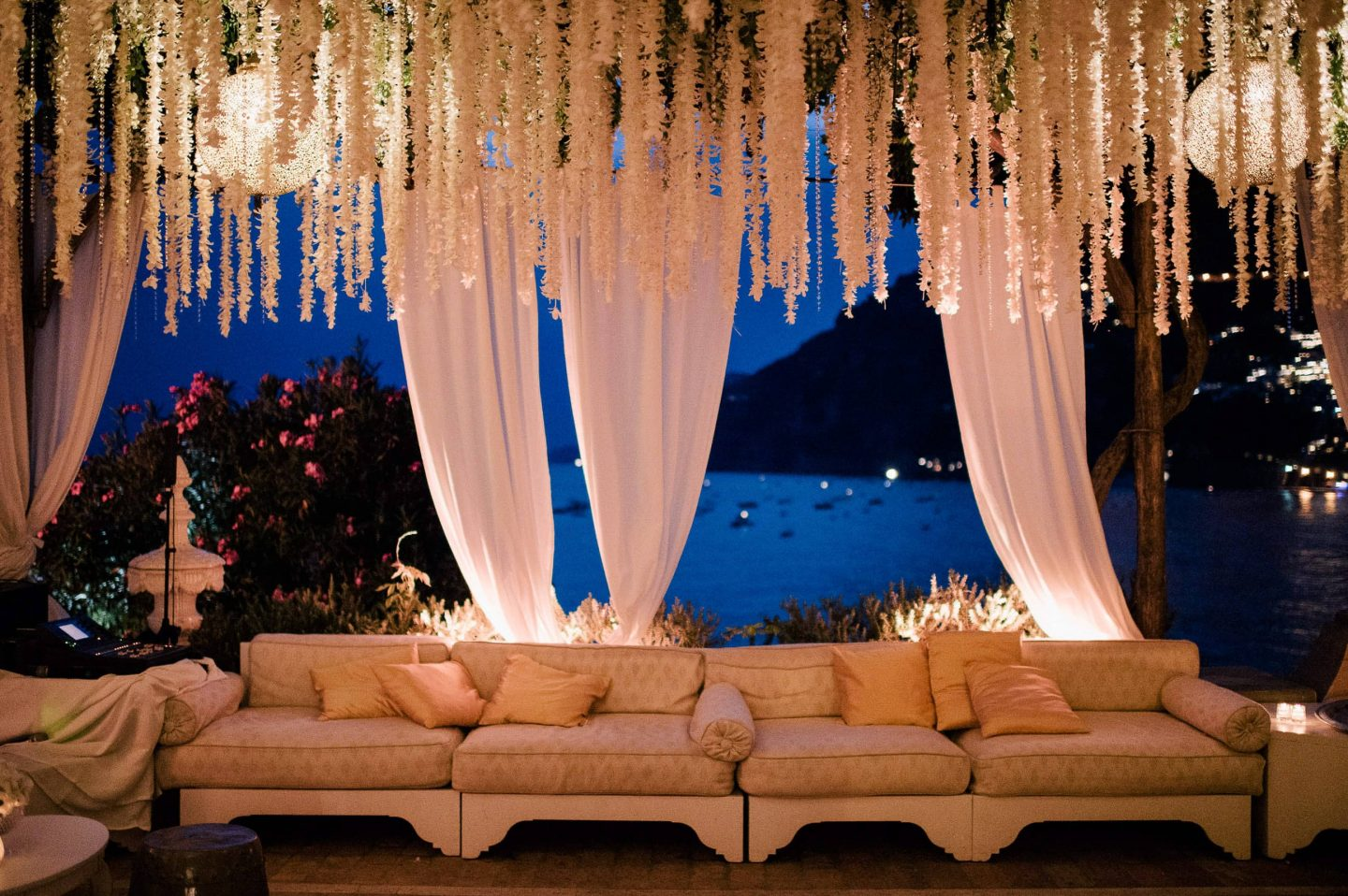 Reception lounge area at this Positano wedding weekend in Villa Tre Ville | Photo by Gianni di Natale