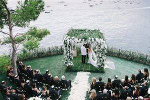 Wedding ceremony overlooking the sea.