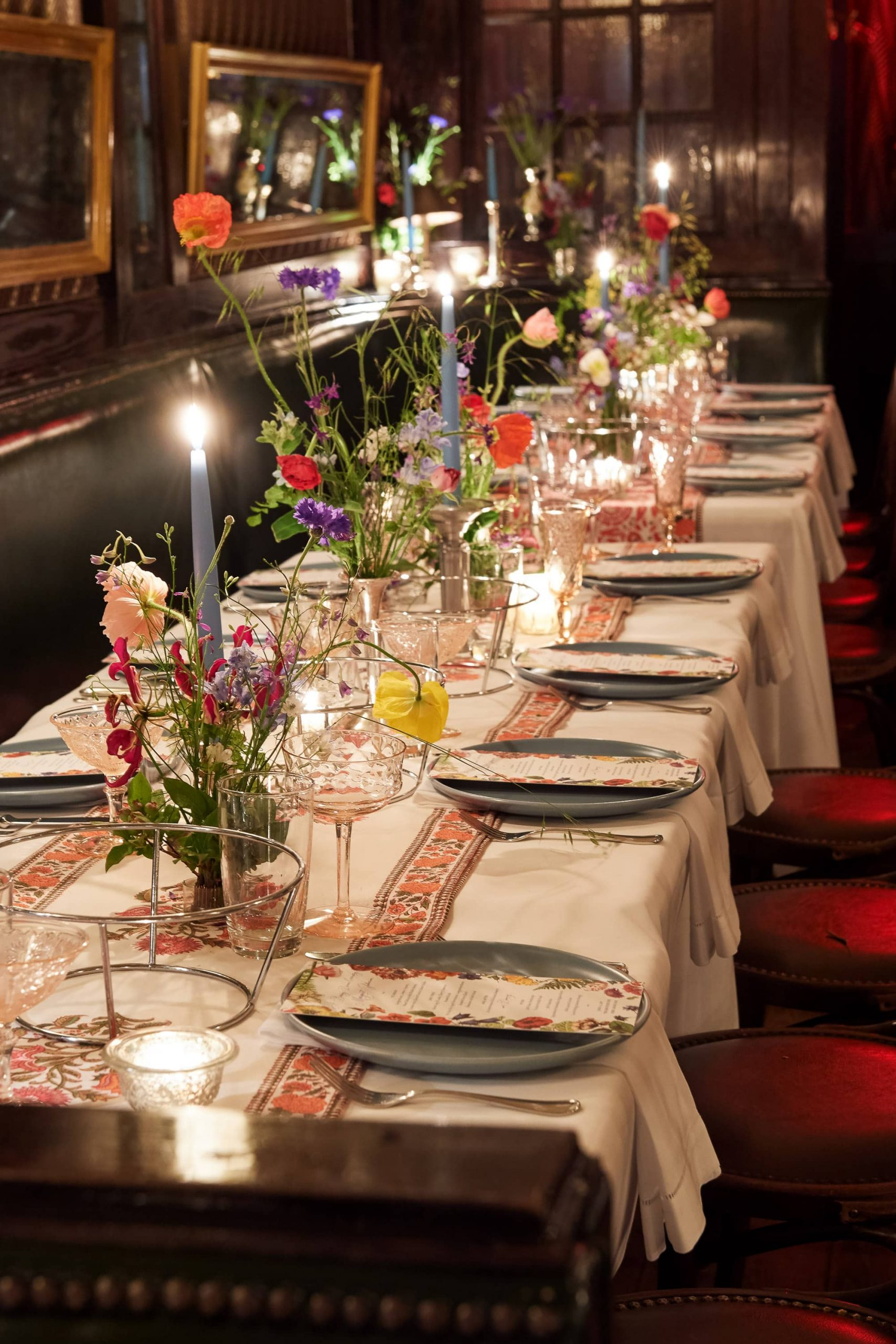 Table set-up at this 40th surprise birthday party at Beatrice Inn in West Village | Photo by Darren Ornitz