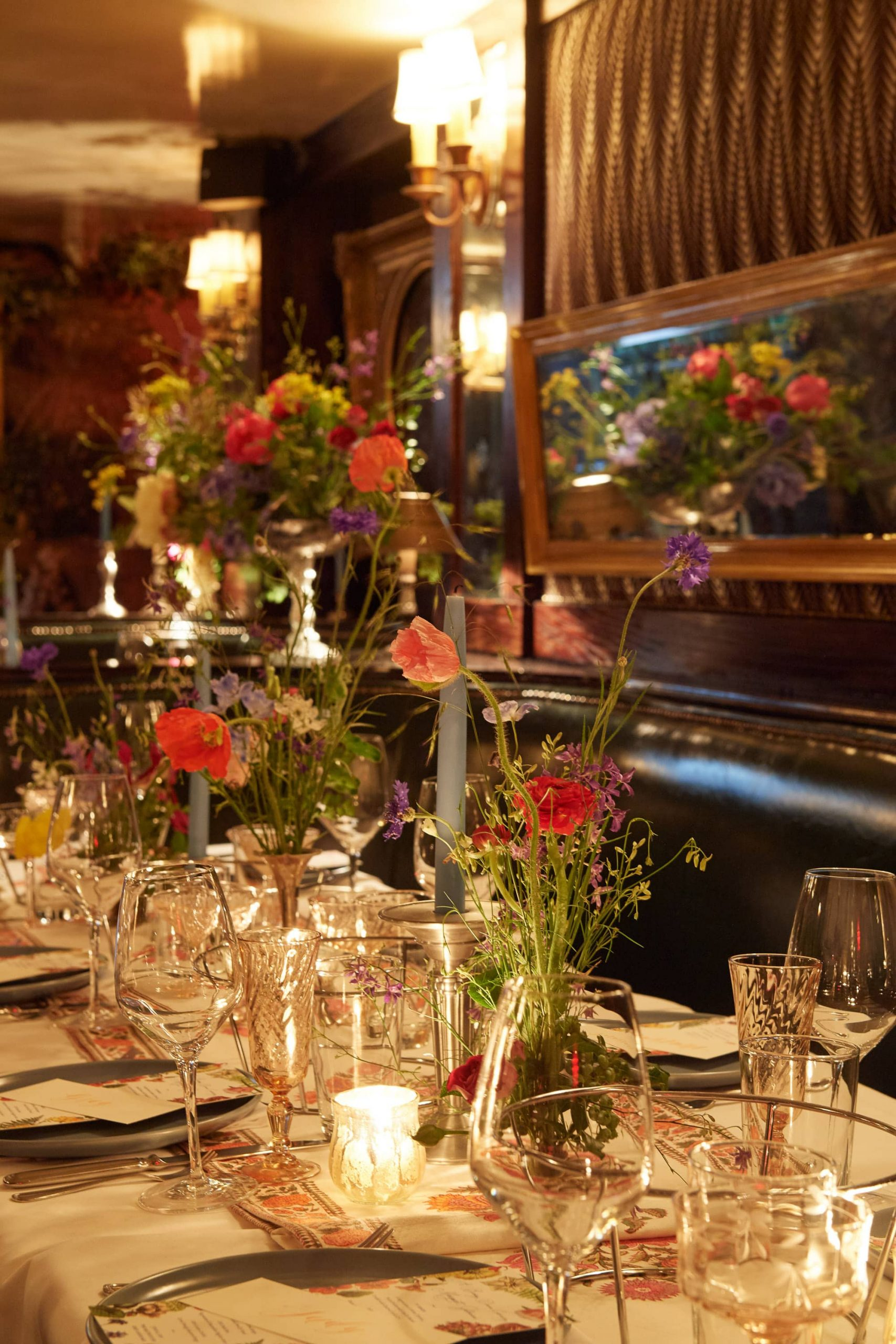 Floral decor at this 40th surprise birthday party at Beatrice Inn in West Village | Photo by Darren Ornitz