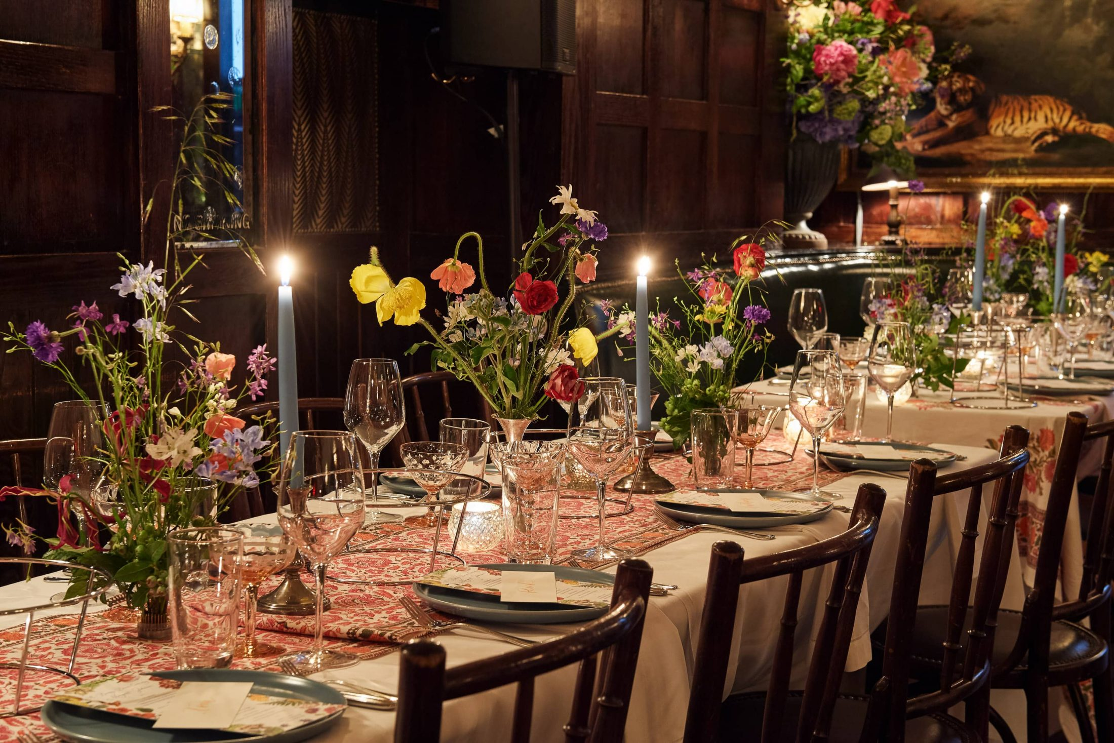 Gorgeous table scape at this 40th surprise birthday party at Beatrice Inn in West Village | Photo by Darren Ornitz