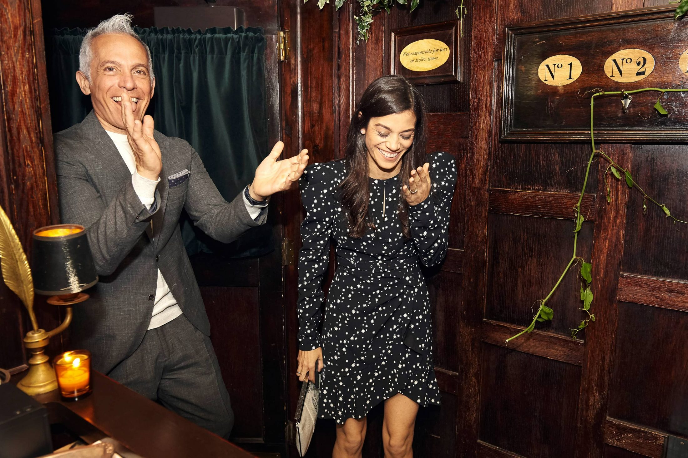 Surprised birthday girl at this 40th surprise birthday party at Beatrice Inn in West Village | Photo by Darren Ornitz