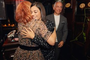 Marcy and Margaret hugs at this 40th surprise birthday party at Beatrice Inn in West Village   Photo by Darren Ornitz