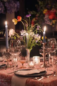 Floral decor at this 40th surprise birthday party at Beatrice Inn in West Village   Photo by Darren Ornitz