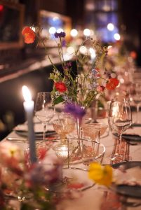 Flower details at this 40th surprise birthday party at Beatrice Inn in West Village | Photo by Darren Ornitz