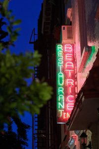 Beatrice Inn Restaurant neon sign at this 40th surprise birthday party at Beatrice Inn in West Village | Photo by Darren Ornitz