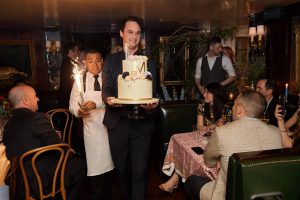 Cake at this 40th surprise birthday party at Beatrice Inn in West Village | Photo by Darren Ornitz