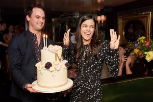 Birthday girl and cake at this 40th surprise birthday party at Beatrice Inn in West Village | Photo by Darren Ornitz