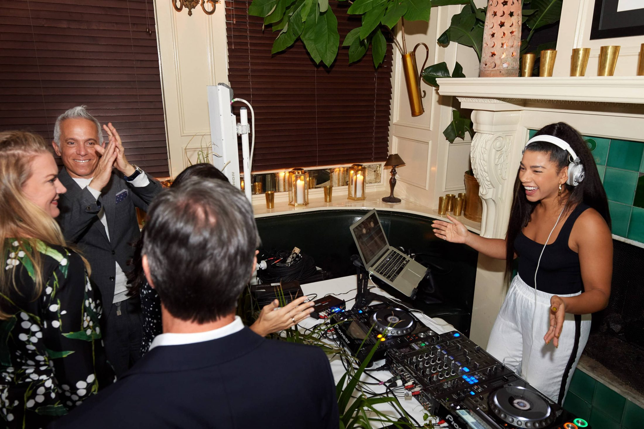 DJ Hannah Bronfman at this 40th surprise birthday party at Beatrice Inn in West Village | Photo by Darren Ornitz