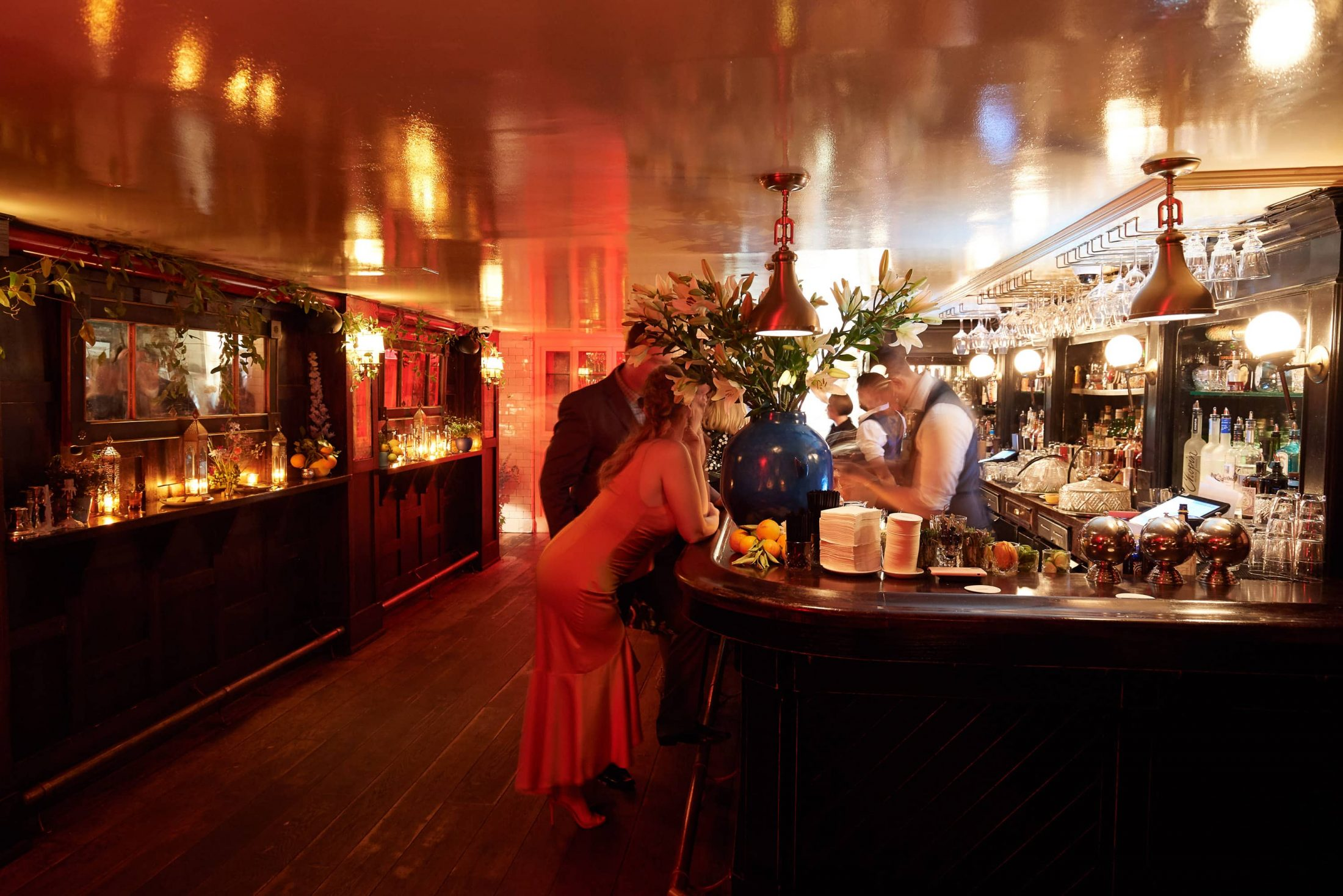 Bar at this 40th surprise birthday party at Beatrice Inn in West Village | Photo by Darren Ornitz