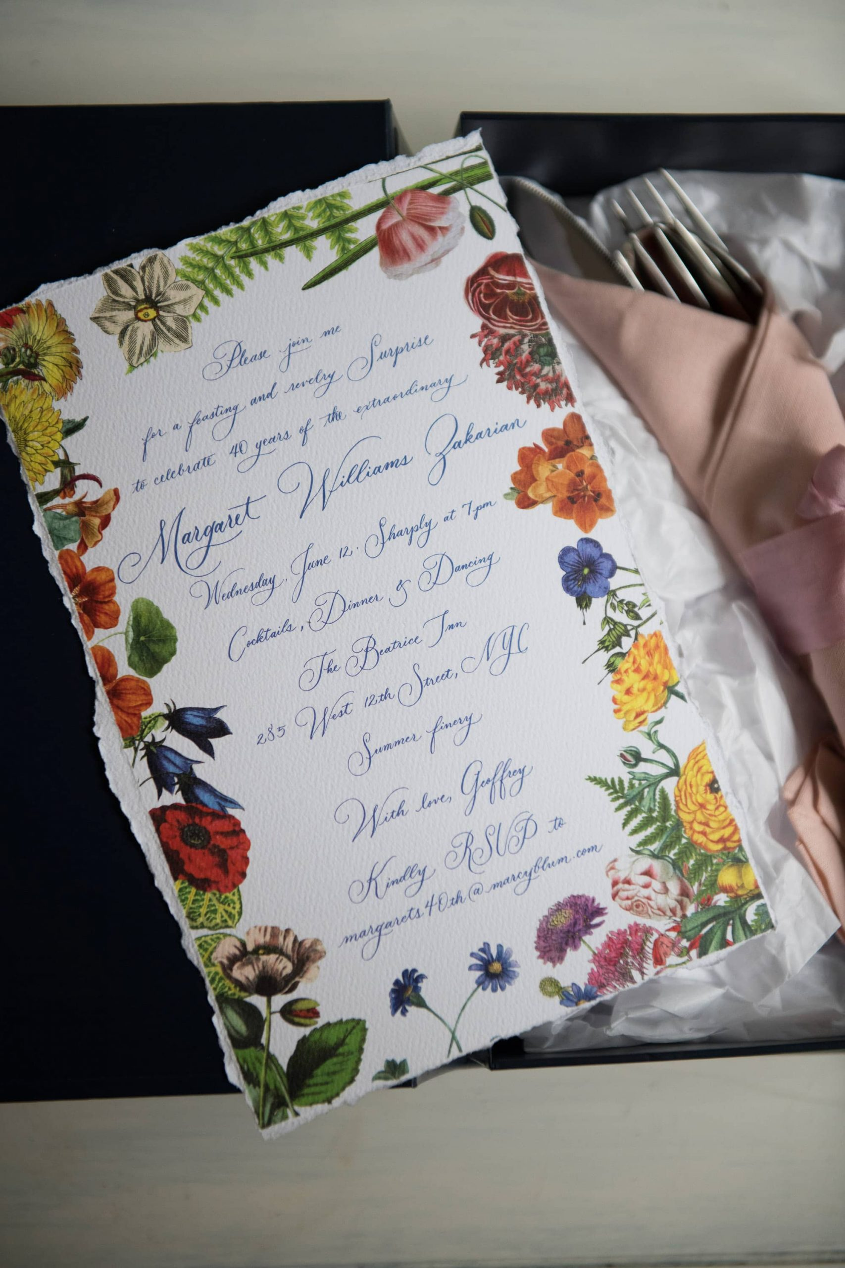 Birthday stationery at this 40th surprise birthday party at Beatrice Inn in West Village | Photo by Darren Ornitz