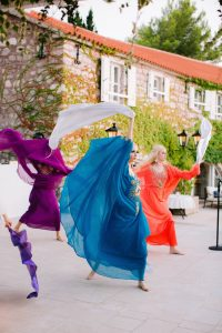 60s-themed welcome party at this Aman Sveti Stefan Montenegro destination wedding weekend | Photo by Allan Zepeda