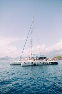 Catamaran sail at this Aman Sveti Stefan Montenegro destination wedding weekend | Photo by Allan Zepeda