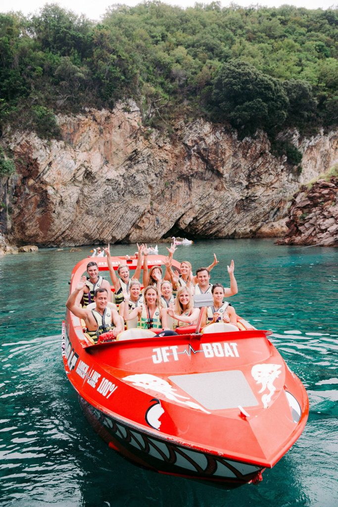 Speedboat at this Aman Sveti Stefan Montenegro destination wedding weekend | Photo by Allan Zepeda
