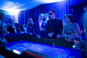 Roulette table at Casino Royale-themed party at this Aman Sveti Stefan Montenegro destination wedding weekend | Photo by Allan Zepeda