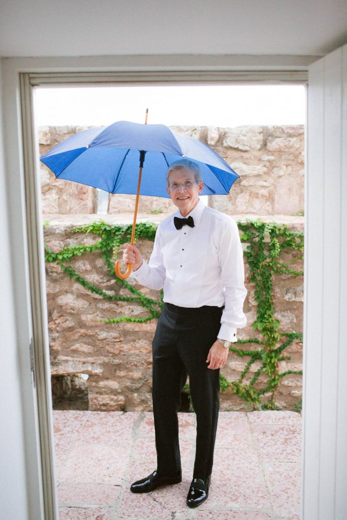 Rain coverage at this Aman Sveti Stefan Montenegro destination wedding weekend | Photo by Allan Zepeda