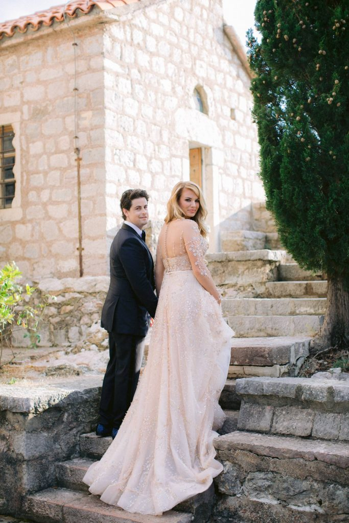 Bride and groom at this Aman Sveti Stefan Montenegro destination wedding weekend | Photo by Allan Zepeda