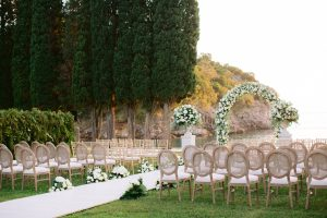 Outdoor ceremony at this Aman Sveti Stefan Montenegro destination wedding weekend | Photo by Allan Zepeda