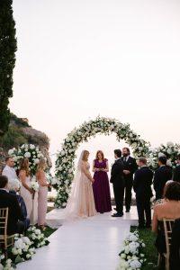 Outdoor ceremony at this Aman Sveti Stefan Montenegro destination wedding weekend | Photo by Allan Zepeda