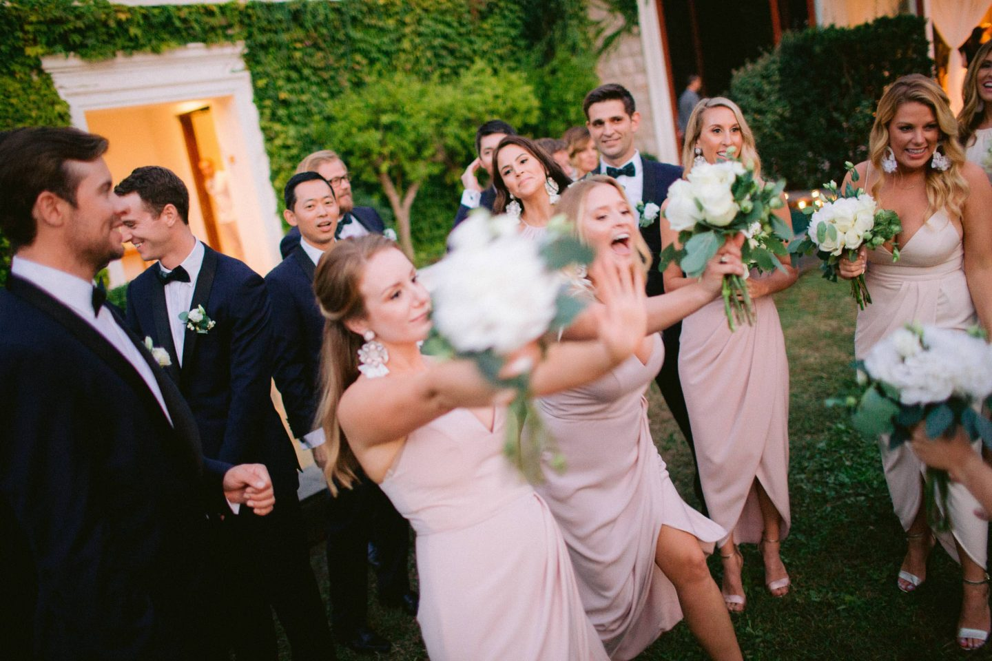 Bridal party at this Aman Sveti Stefan Montenegro destination wedding weekend | Photo by Allan Zepeda