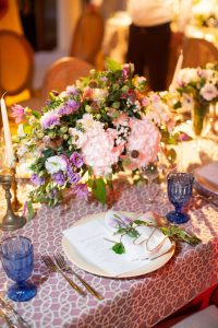 Reception table decor at this Aman Sveti Stefan Montenegro destination wedding weekend | Photo by Allan Zepeda