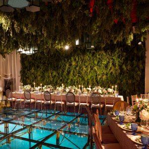 Reception decor at this Aman Sveti Stefan Montenegro destination wedding weekend | Photo by Allan Zepeda