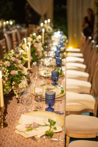 Reception table decor at this Aman Sveti Stefan Montenegro destination wedding weekend | Photo by Allan Zepeda