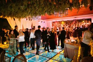 Dancing during reception at this Aman Sveti Stefan Montenegro destination wedding weekend   Photo by Allan Zepeda