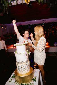 Cake cutting during reception at this Aman Sveti Stefan Montenegro destination wedding weekend | Photo by Allan Zepeda