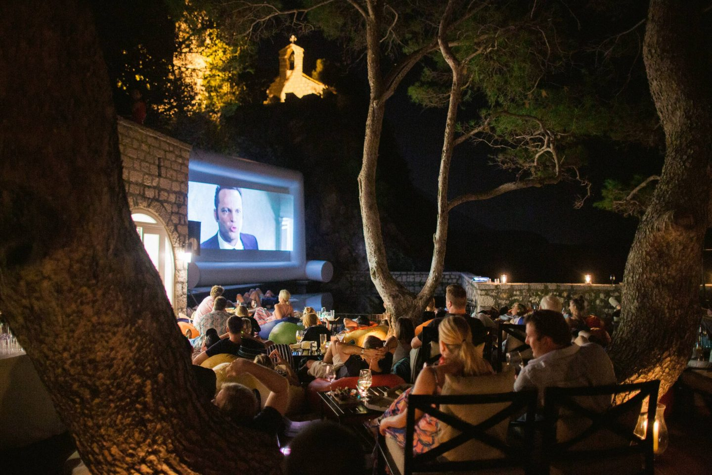Movie night at this Aman Sveti Stefan Montenegro destination wedding weekend | Photo by Allan Zepeda