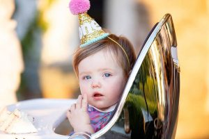 Baby at this South Beach-inspired first birthday pool party in the Hamptons | Photo by Cava Photo