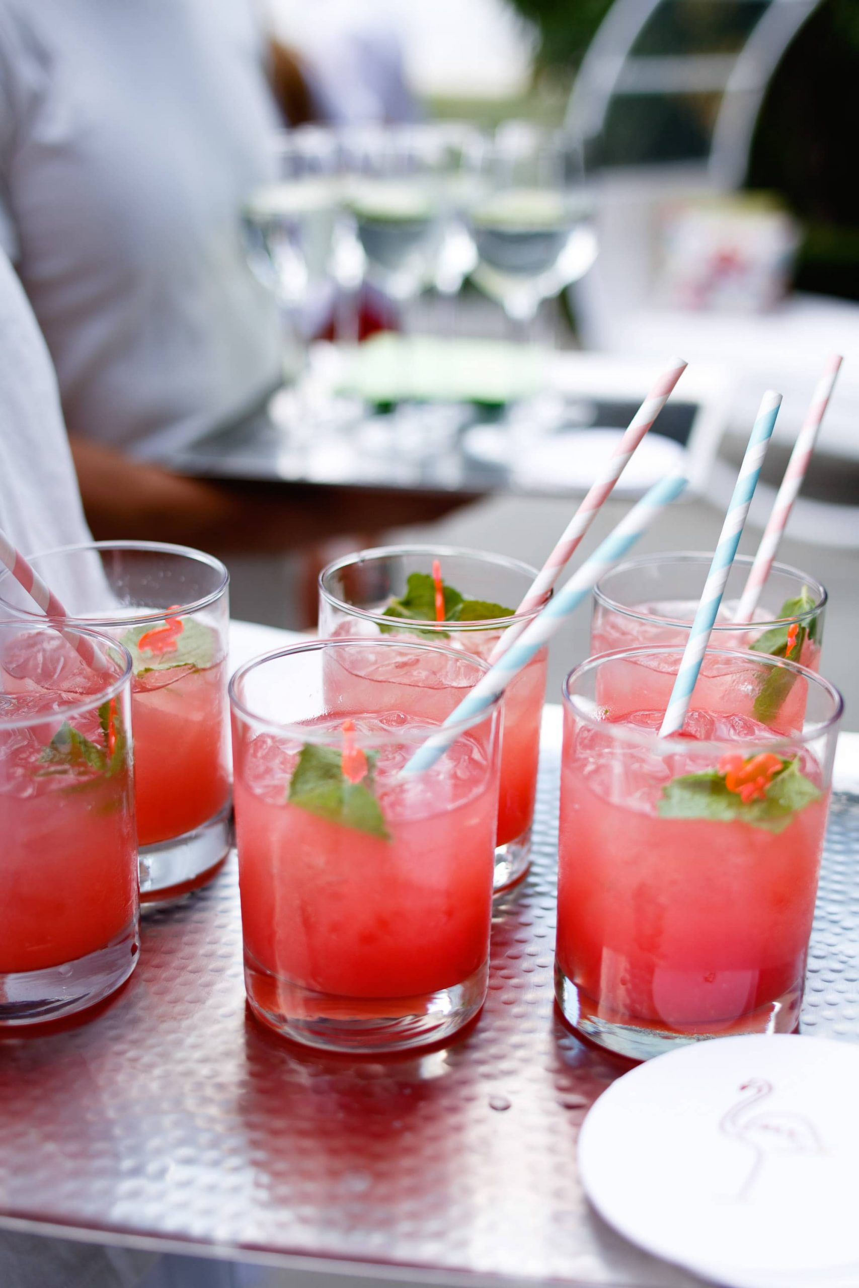 Watermelon drinks at this South Beach-inspired first birthday pool party in the Hamptons | Photo by Cava Photo