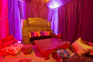 Lounge area at this food festival and souk-inspired bat mitzvah in DC | Photo by Luis Zepeda