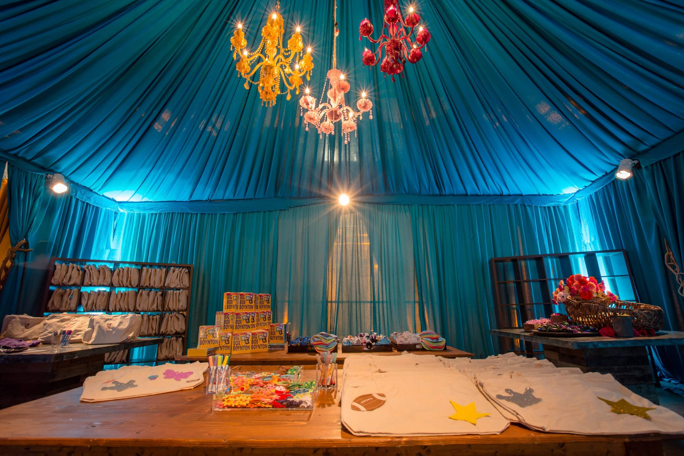 DIY canvas tote area at this food festival and souk-inspired bat mitzvah in DC | Photo by Luis Zepeda