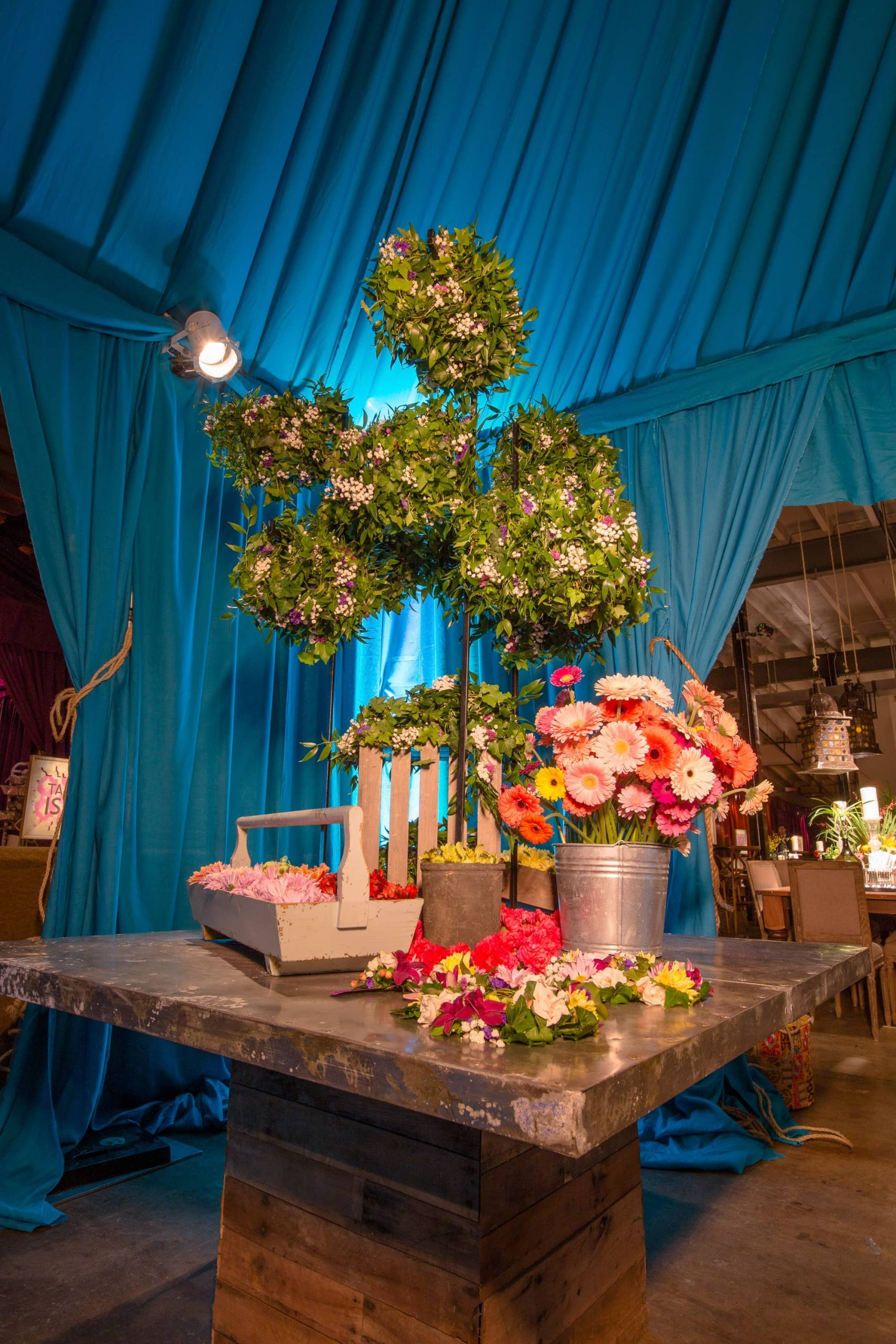 Table and floral decor at this food festival and souk-inspired bat mitzvah in DC | Photo by Luis Zepeda
