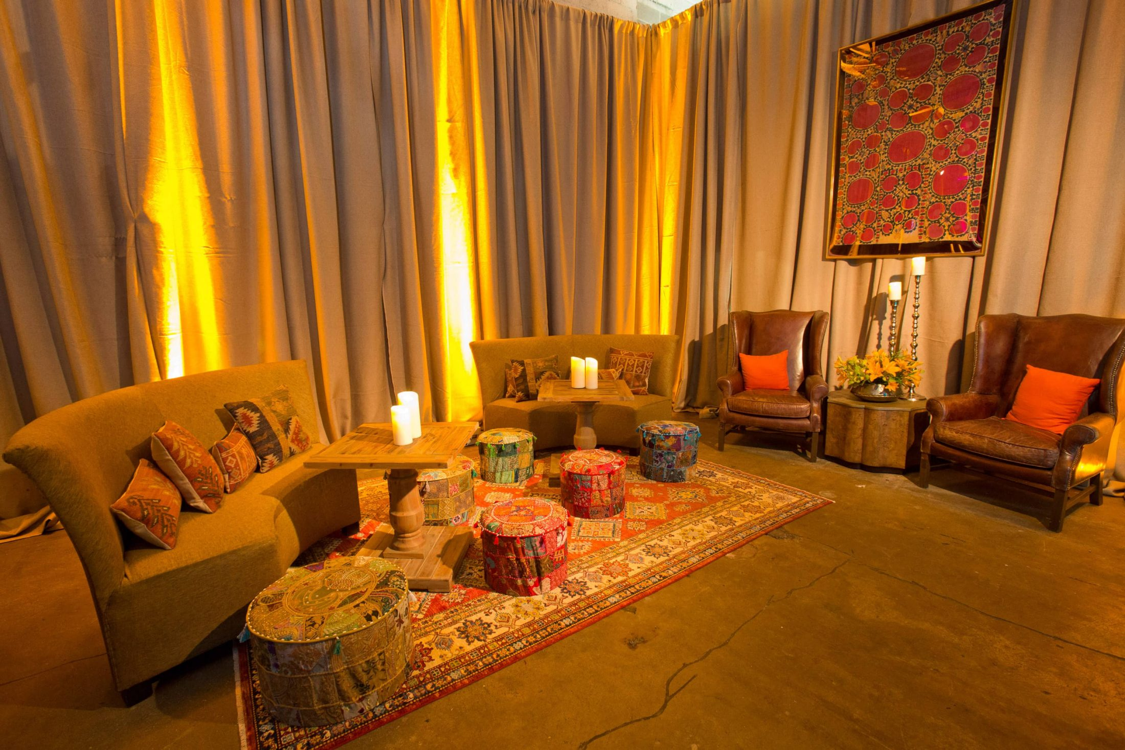 Hangout area at this food festival and souk-inspired bat mitzvah in DC | Photo by Luis Zepeda