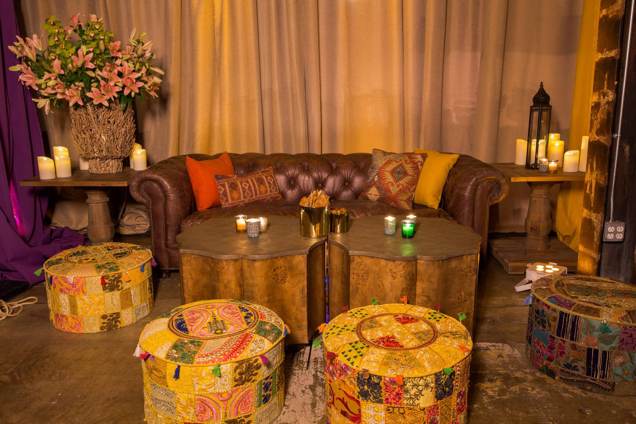Middle Eastern inspired hangout area at this food festival and souk-inspired bat mitzvah in DC | Photo by Luis Zepeda