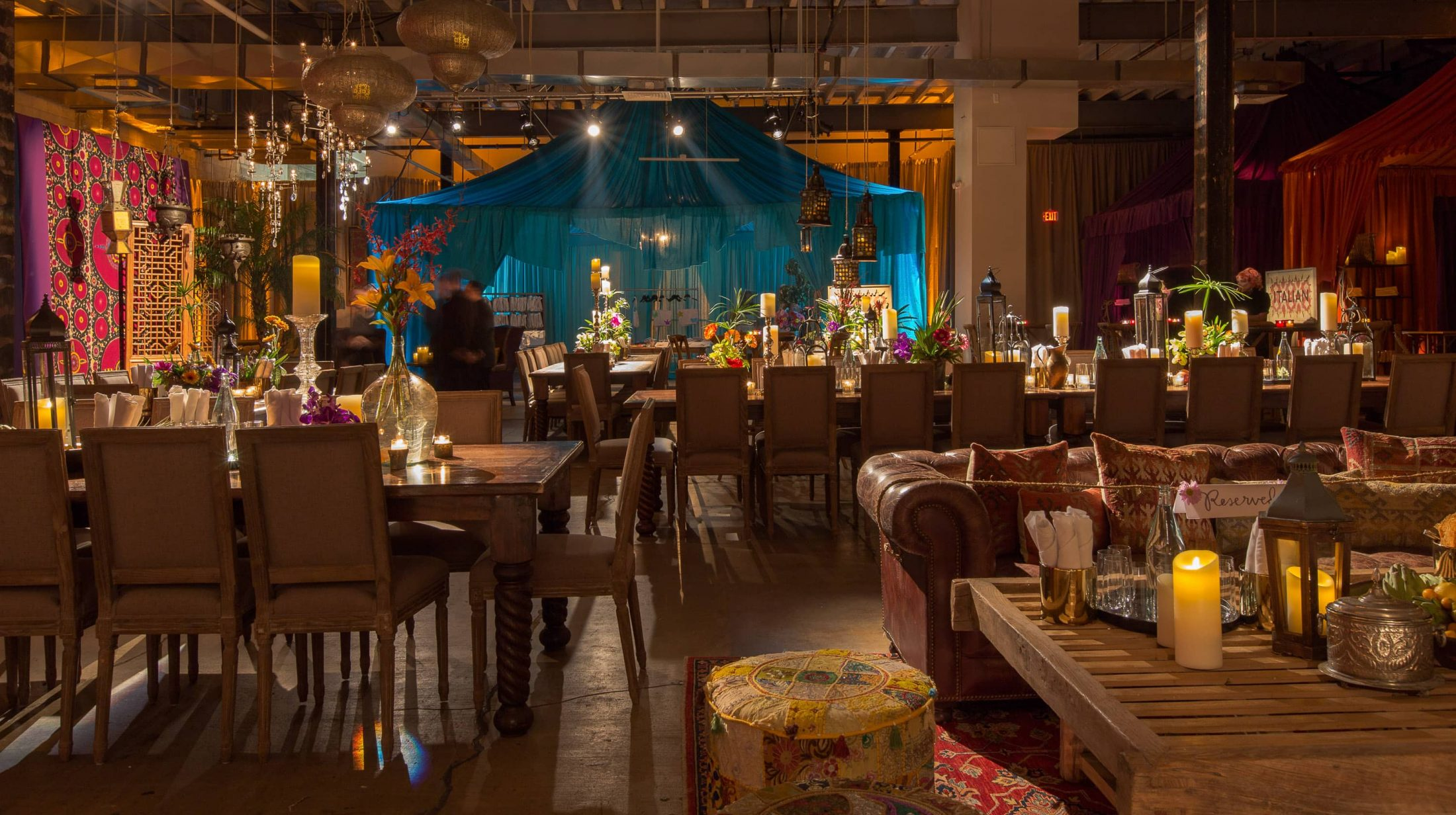 Table area at this food festival and souk-inspired bat mitzvah in DC | Photo by Luis Zepeda