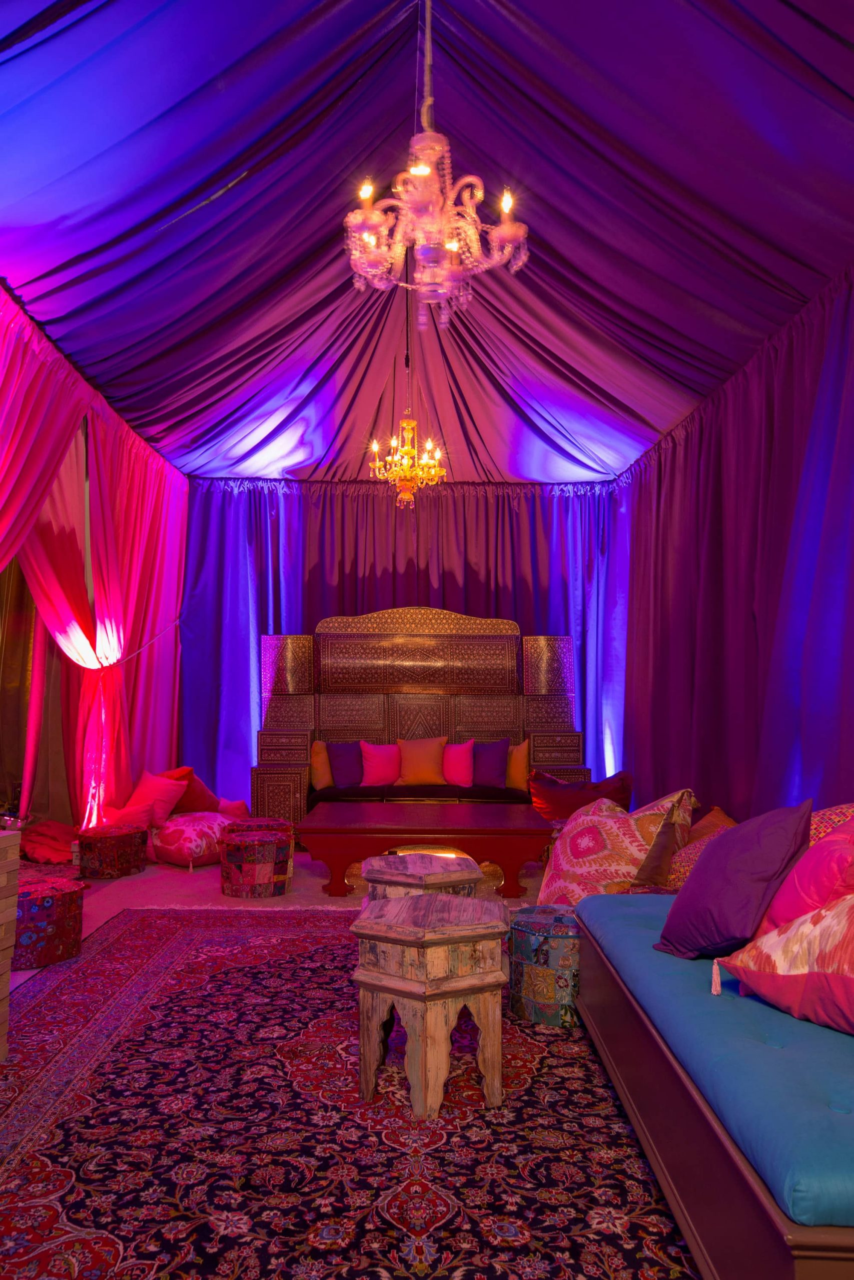 Arabian-inspired lounge area at this food festival and souk-inspired bat mitzvah in DC | Photo by Luis Zepeda