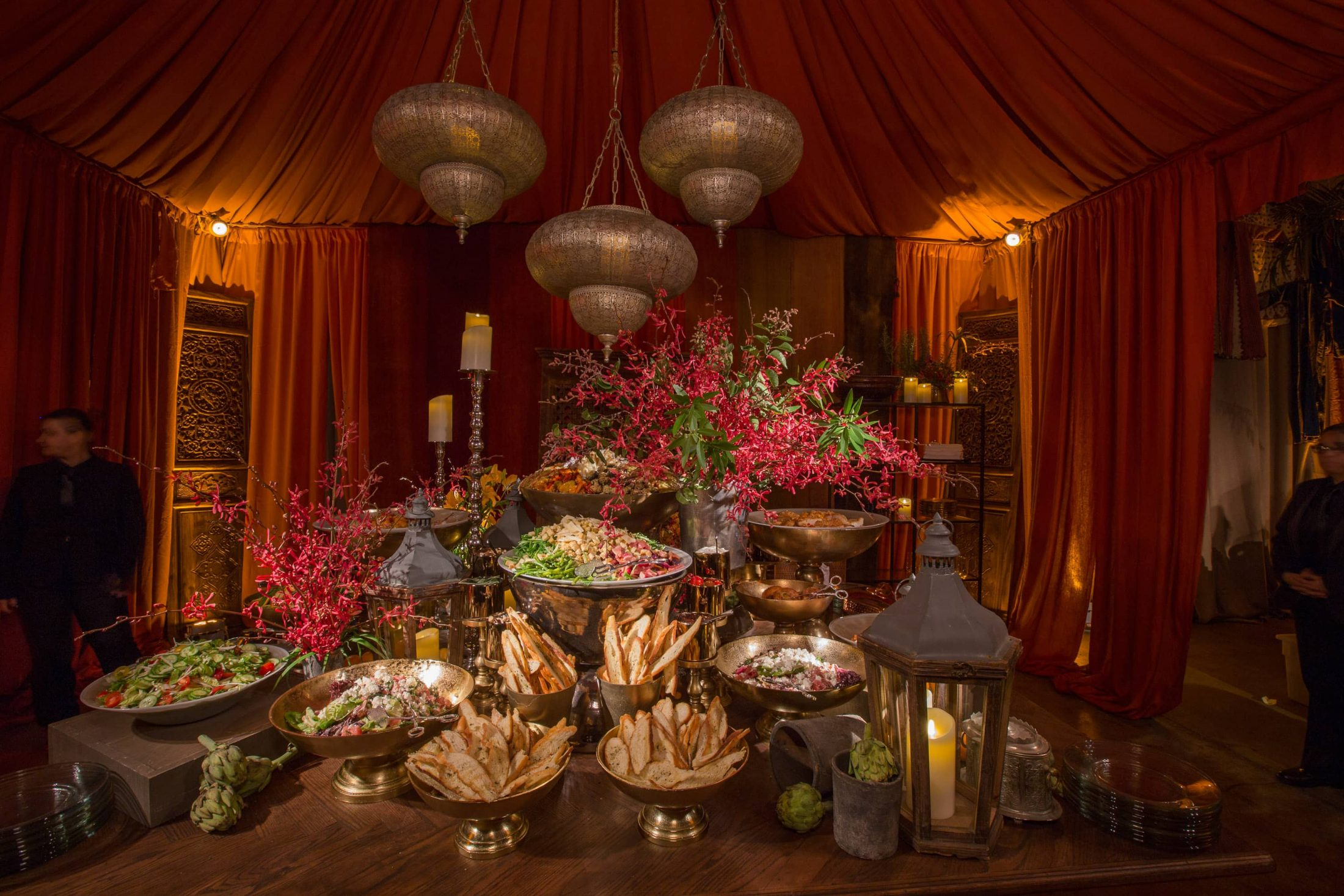 Bread and salad area at this food festival and souk-inspired bat mitzvah in DC | Photo by Luis Zepeda