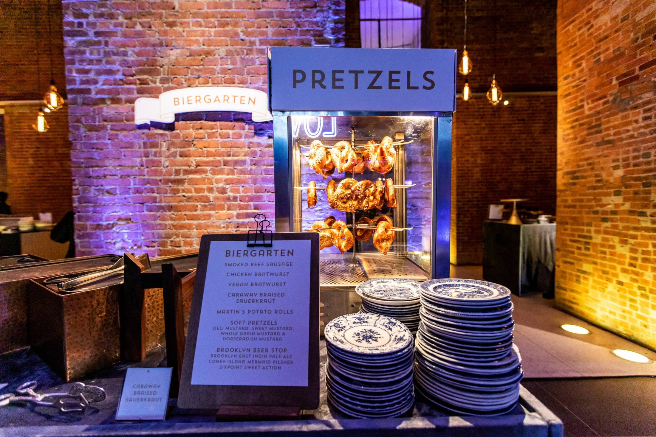 Pretzel station at this Brooklyn Museum rehearsal dinner in NYC | Photo by Gruber Photo