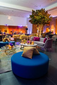 Color block lounge areas at this Brooklyn Museum rehearsal dinner in NYC   Photo by Gruber Photo