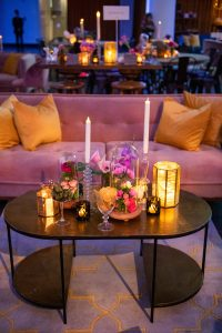 Table and floral decor at this Brooklyn Museum rehearsal dinner in NYC | Photo by Gruber Photo
