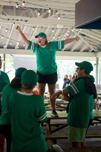 Green team at field day at this camp-themed wedding weekend at Cedar Lakes Estate in Upstate NY, USA | Photo by Christian Oth Studios